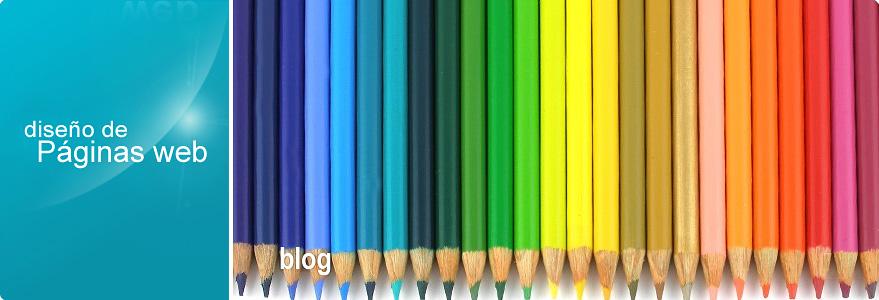 Imagen de cabecera del blog del sitio de CírculoWeb - Diseño y desarrollo web. Fotografía de una fila ordenada con lápices de colores. La foto incluye los textos: diseño de Páginas web y Blog