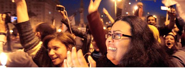 Los egipcios celebran la caída del régimen de Hosni Mubarak